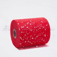 Red Sequin Star Tulle Roll
